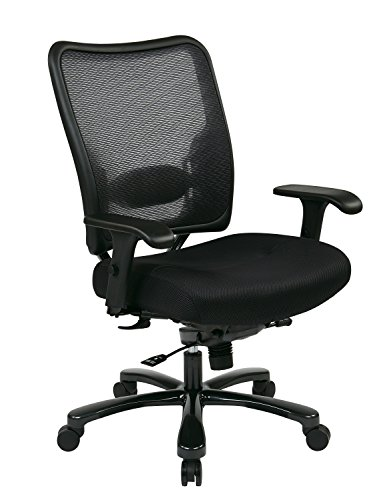 SPACE Seating Big and Tall AirGrid Back and Padded Mesh Seat, Adjustable Arms, Gunmetal Finish Base...