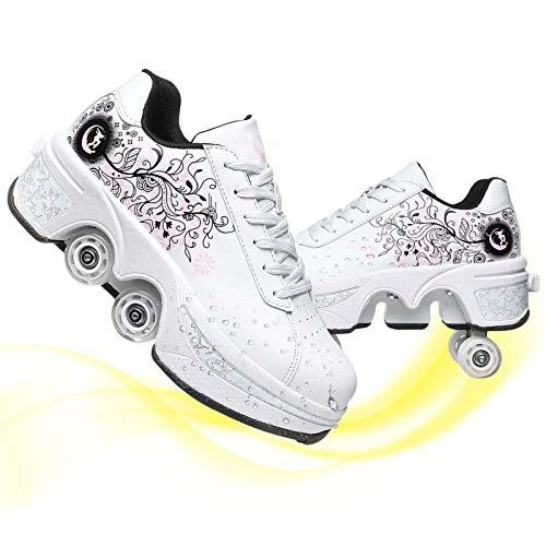 HealHeaters Zapatos Multiusos 2 En 1 Patines con Ruedas Deformables Zapatillas De Deporte Casuales Patines para Caminar Patinetas De Cuatro Ruedas