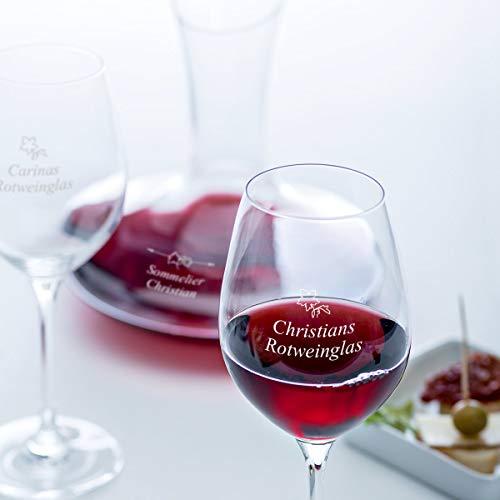 Rotwein-Set mit Gravur | Edler Dekanter und 2 Rotweingläser mit Wunsch-Namen als Geschenk für Geniesser | 1,5L, 3-Teilig