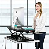 VersaDesk | Power Pro Touch Button Electric Height-Adjustable Desk Riser | Standing Desk Converter | Sit to Stand Desktop with Keyboard + Mouse Tray (All Black, 36' X 24')