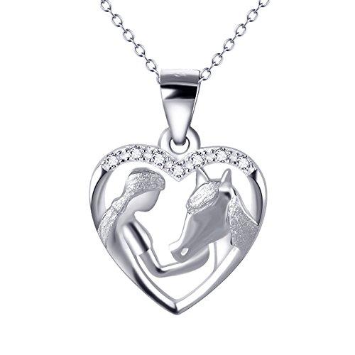 """YFN \""""Mädchen und Pony 925 Sterling Silber Zirkonia Herzform Anhänger Halskette"""