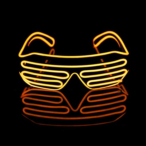 Verde 1 for Music Concert Live Stage Performance Show,for Christmas Halloween Wild Party,Dance Ball,Crazy Parties Neon El Wire LED Lighting Up Slotted Shutter Glasses Eyeglasses Eyewear Raves