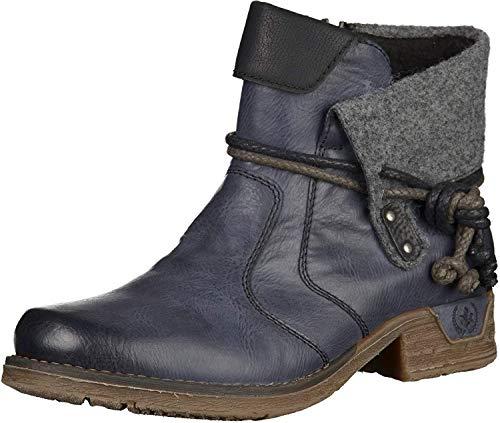 Rieker Damen Kurzschaft Stiefel, blau (ozean/schwarz/granit/schwarz), 40 EU (6.5 UK)