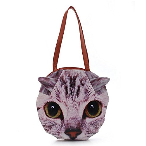 Femmes Lady chat 3D Animal mignon chien tête Pu cuir Sac épaule sac sacs à main