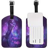Colorida Silueta de Unicornio con Magic Galaxy Light Etiqueta de Equipaje para Equipaje Maleta Bolsa Etiqueta de Viaje Cuero 2 Piezas