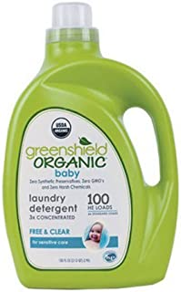 GreenShield Organic Baby Laundry Detergent, Free & Clear, 100 oz - Pack of 1