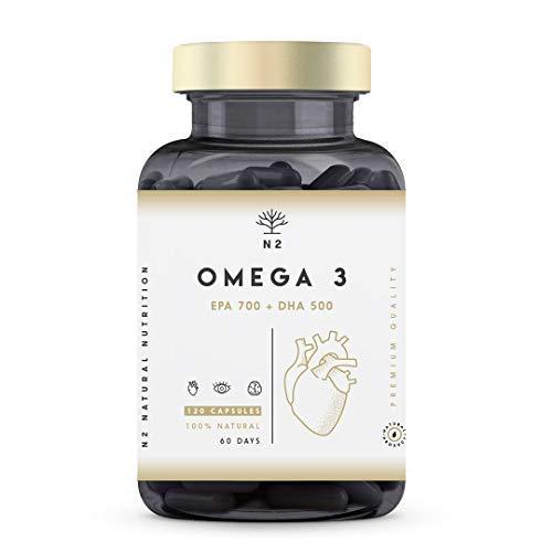 Omega 3 Fish Oil 2000 mg, 700 mg EPA et 500 mg DHA. Huile de Poisson et Vitamine E. Aide à Améliorer et Protection la Vision, Cerveau et Coeur. Régule le cholestérol.120 Gélules N2 Natural Nutrition