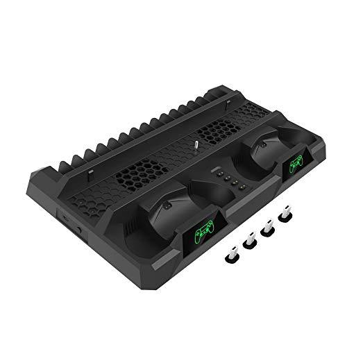 WRISCG Soporte Vertical para PS4/ Slim/Pro PS4 Refrigeración con 2 Ventiladores de refrigeración, 2 Estaciones de Carga del Controlador y 16 Ranuras de Disco de Juego, Negro