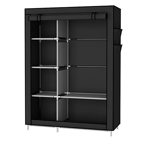 UDEAR Portable Wardrobe Folding Closet Clothes Organizer Shelves for Storage Dust Resistant Black