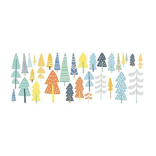 JHD Waldbäume im nordischen Stil Wandaufkleber PVC Selbstklebend Bunt Abnehmbar Wasserdicht Tapete Aufkleber Hintergrund Dekor für Kinder Schlafzimmer Wohnzimmer Klassenzimmer Kinderzimmer Spielzimmer