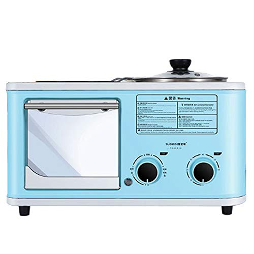 5L Countertop Oven,with Cooking pot and frying pan Toaster |Steam Oven Toaster |Multi-function Stainless Steel Finish with Timer -Toast -Bake -Broil Settings,Toaster Oven (Blue)