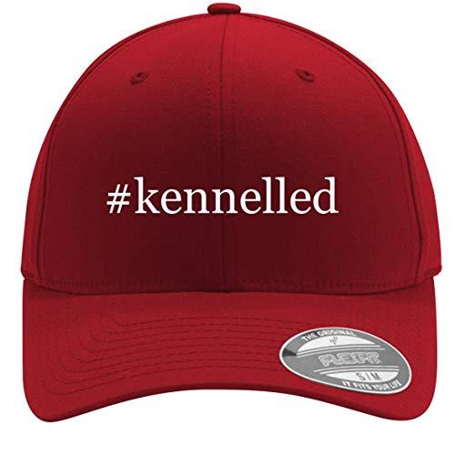 #Kennelled - Adult Men's Hashtag Flexfit Baseball Hat Cap, Red, Large/X-Large