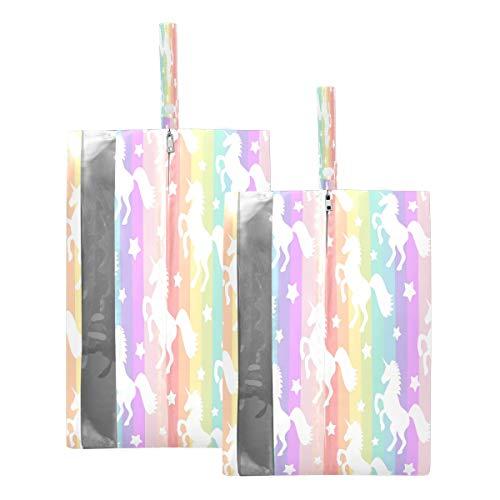 Mnsruu Bolsas de zapatos de viaje con diseño de rayas coloridas y estrellas, 2 piezas, tamaño estándar: 23 x 38 cm