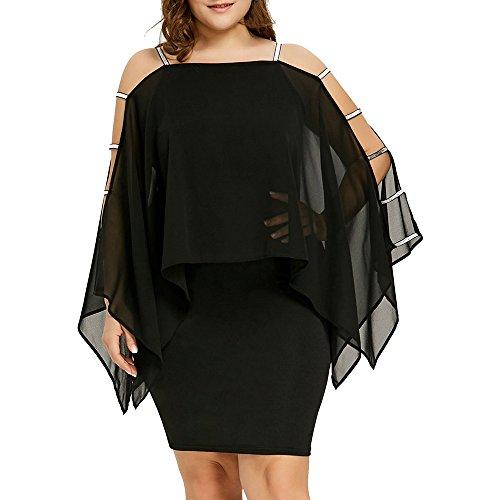 TOTOD Dress for Women Plus Size Ladder Cut Overlay Asymmetric Chiffon Strapless Mini Dress Black
