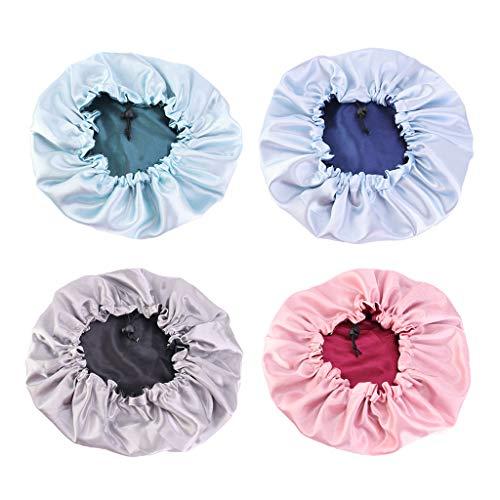 F Fityle 4 Pcs Silky Bonnet Cap Réversible Réglable Sleep Cap Bonnet Shower Cap