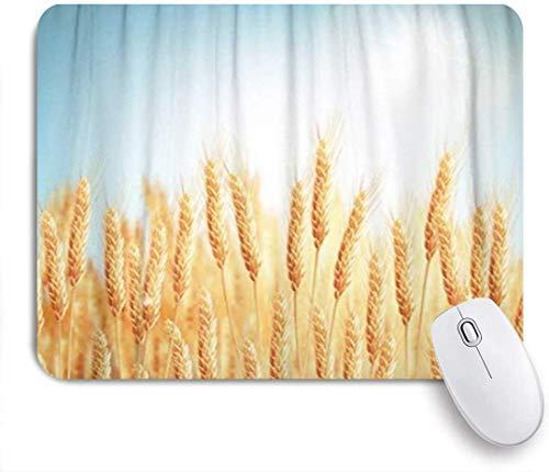 Gaming Mouse Pad, Blue Crop Golden Wheat Field Und Sunny Day File Yellow Gerste Müsli Brot, Rutschfeste Gummibasis, Schreibtischmatte Für Büro Und Zuhause,
