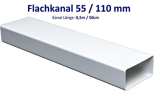 Flachkanal Länge 50 cm/0,5 m für 55 x 110 Flachkanal Lüftungssysteme. Abluftkanal oder Zuluftkanal. Hohe Qualität ABS-Kunststoff (FS55-05)