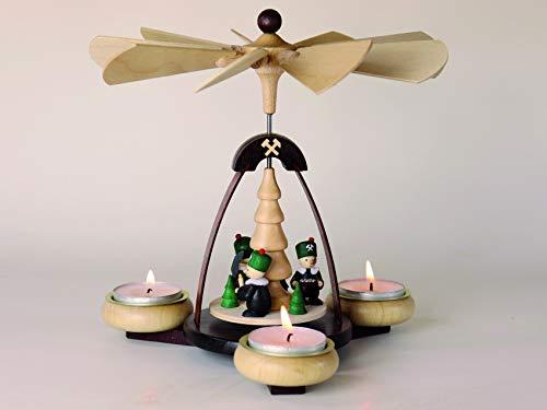 Teelichtpyramide dunkelbraun & Tüllen natur Bergleute für 3 Teelichte Holzart: Fichte, Rotbuche, Weißbuche, Linde, Sperrholz, Esche (Furnier) B x H = 19,5 cm x 19,0 cm NEU Tischpyramide Holzpyramide