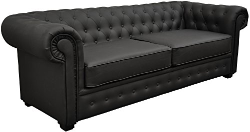 Chesterfield Style Venus Sofa Bed 3 Seater 2 Seater Black Cream Brown Red Faux Leather(2 Seater, Black)