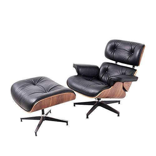 DZWLYX Gaming Chair Mid Century Lounge Chair with Ottoman Nordic Modern Lounge Chair Recliner Sofa Armchair with Footstool Lazy Sofa Chair Leather for Living Room Bedroom Black