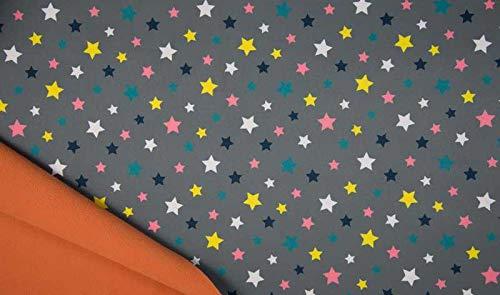 Softshell Stoff in Grau mit Sternen als Meterware zum Nähen von Baby, Kinder- und Erwachsenenbekleidung, 50 cm