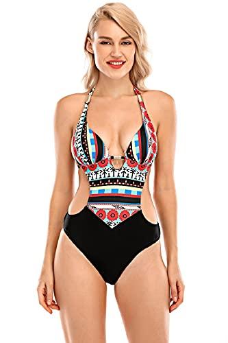 UMIPUBO Donna Bikini Intero Costumi da Bagno, Un Pezzo Tankini Interi Sexy Stampa Bikini Brasiliana Elegante Costumi Sottile Trikini Tankini Moda Bikini a Fascia per Piaggia Piscina