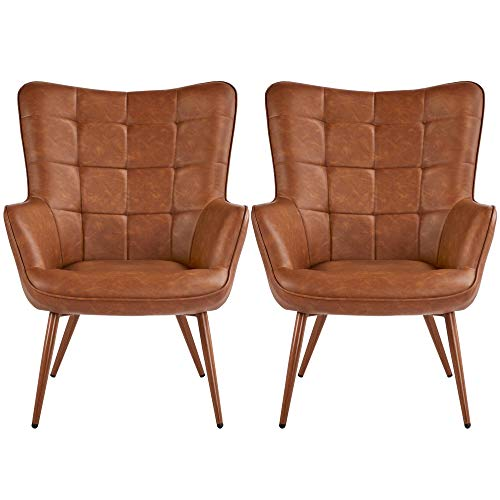Yaheetech Faux Leather Leisure Chair Accent Chair Armchair Upholstered Biscuit Tufted Wingback Chair with Tapered Legs for Living Room Home Office Study Vanity Bedroom Brown, Set of 2