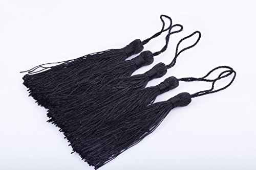 KONMAY 20pcs Silky Handmade Tiny(3.5'') Soft Craft Mini Tassels with Loops for Bookmarks Jewelry Making, Decoration DIY Projects (Black)