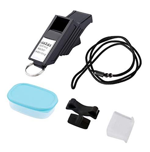 Generic Brands Porte-clés portable en acier inoxydable avec sifflets pour arbitres, arbitres et officiels, noir/argenté