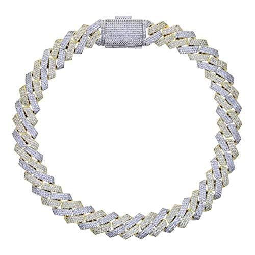 YFAM Cadena Cubana Collar Pesado 3 Filas Cubo de Hielo de Dos Colores Collar de Diamantes Joyería de los Hombres (Length : Necklace 51CM, Metal Color : Two Tone Gold)