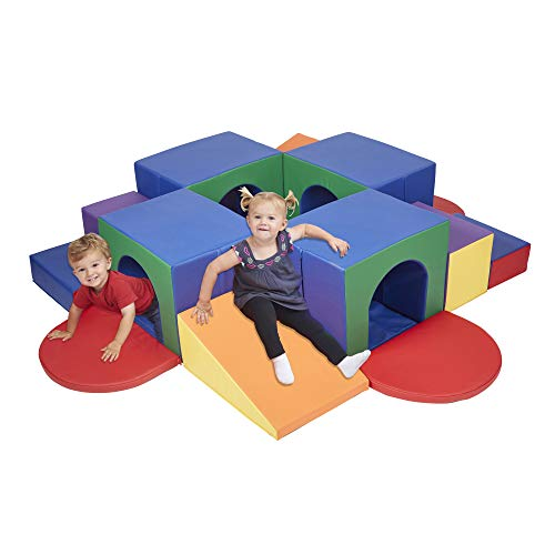 ECR4Kids SoftZone Four Tunnel Maze, Jumbo Foam Climber for Safe Active Play, Soft Indoor Obstacle Course for Kids, Climbing and Crawling Foam Structure for Playrooms and Classrooms - Assorted