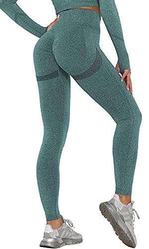 Joligiao Pantalones de Yoga de Punto,Mujeres Sin Costuras Leggings de Cintura Alta de Gimnasio Booty Scrunch Yoga Leggings Transparente Anticelulitico Pantalones para Fitness Running