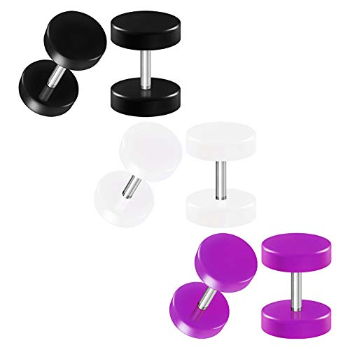 BIG GAUGES 3 Pairs Black White Purple Acrylic 16gauges 1.2 mm Zero Gauge 8mm Fake Plug Piercing Ear Illusion Cheater Earring Lobe BG4493