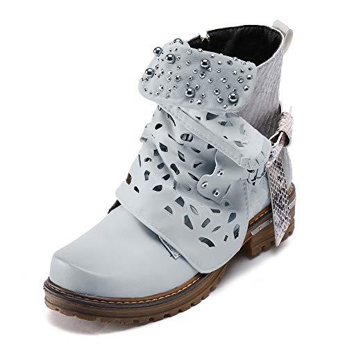 Zapatillas Moda Botines Low Boots Mujer Encaje Talón Tacón Ancho Alto Botas campera Cuero Buckle Ahuecar Boots Pearl Oxford Boot Side Zipper Cowgirl Boot