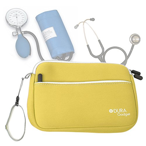 DURAGADGET Estuche De Neopreno Amarillo para Guardar Sus Accesorios Médicos (Estetoscopio/Tensiómetro