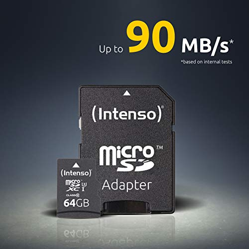 Intenso Professional microSDXC UHS-I Class 10 64GB Speicherkarte inkl. SD-Adapter (bis 90Mbps) schwarz