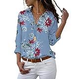 Long Sleeve Women Blouses Plus Size Turn-down Collar Blouse Shirt Casual Tops Elegant Work Wear Chiffon Shirts 5XL,Blue,5XL