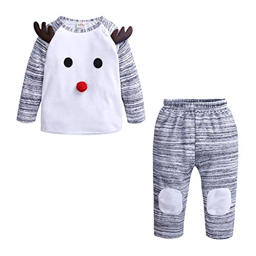 Bébé Garcons Pyjama Noel Pullover avec Pantalon Père Noël Costume