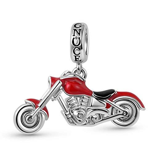 GNOCE Colgante De Motocicleta Colgante De Encantos Colgante De Cadenas De Motociclista Sólido De Plata Esterlina Se Adapta a Todas Las Pulseras y Collares Joyería De Moda Para Mujeres y Hombres