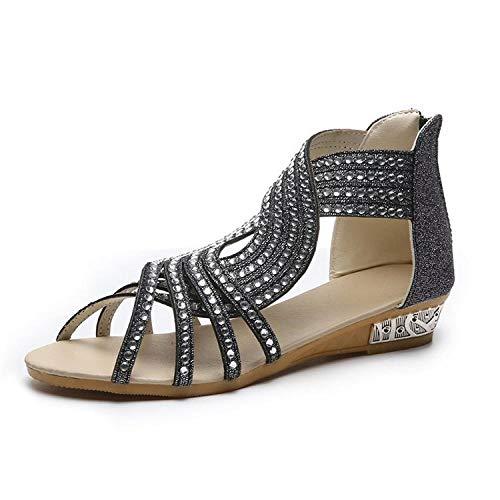 Slipper voor volwassenen,Dames outdoor sandalen met strass en antislip sandalen met ritssluiting aan de achterkant-black_37,Antislip sandalen