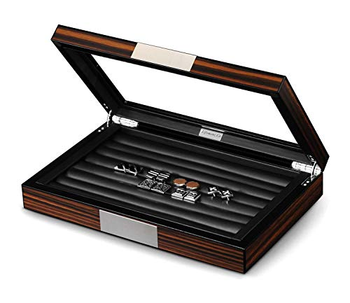 Lifomenz Co Wood Cufflink Box with Glass Window Cufflink Display Case Ring Organizer and Cufflink Box for Men Hold 36-46 Pairs