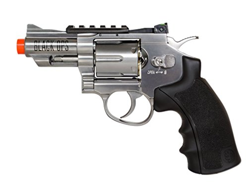 Black Ops Exterminator Airsoft Revolver - Chrome Finish - Full Metal CO2 Airsoft Pistol