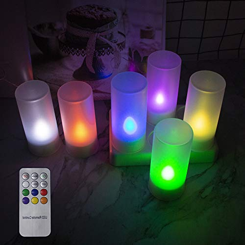 EuroFone LED Flameless Rechargeable Colorful Candle with Frosted Holder and Charging Station for Decoration Festival s Weddings Christmas, Set of 6 (Multicolor with Remote)
