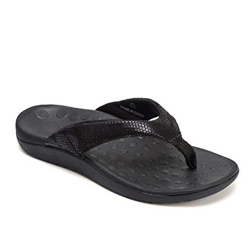 FANTURE Women Orthotic Arch Support Sandal for Comfortable Walk Thong Style Casual Flip Flops U419SLT003-Snake Pattern Black-02-41