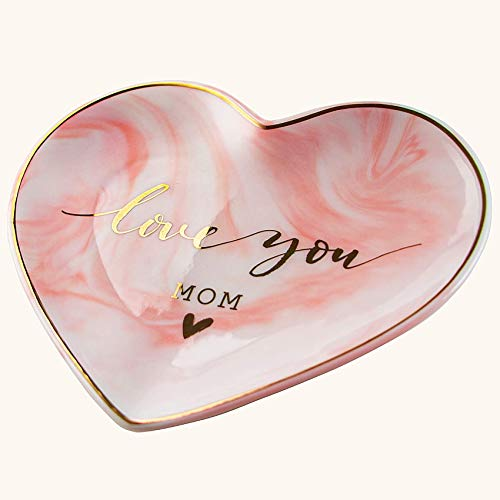 VILIGHT Love You Mom Gifts for Mothers from Daughter and Son - Pink Heart Ceramic Jewelry Tray Key...