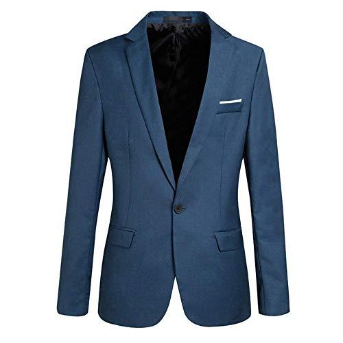 HX fashion Herren Männer Nner Sakko Blazer Freizeit Casual Anzug Slim Bequeme Größen Fit Einfarbig Elegant Hochzeitsanzug Abschlussball Kleidung (Color : Blau, Size : XS)