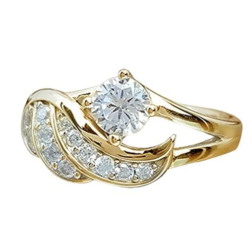 minjiSF Anillo de diamante para mujer, no se decolora, anillos clásicos, joyas únicas, anillos de compromiso, anillos de compromiso, anillos de regalo, accesorios de joyería (oro, 5)