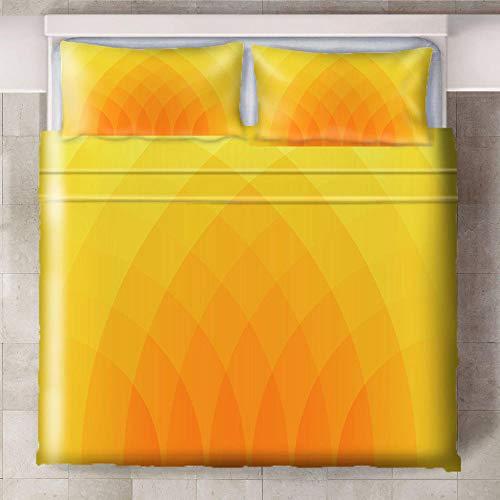 Teqoasiy - Ropa De Cama Infantil - Impresión Digital 3D Amarillo Naranja Abstracto 240x220cm 3 Piezas Suave Microfibra Juego De Funda Nórdica - Con 2 Fundas De Almohada - Antialérgico Funda De Edredón