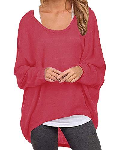 ZANZEA Damen Lose Asymmetrisch Jumper Sweatshirt Pullover Bluse Oberteile Oversize Tops Rot EU 36/Etikettgröße S