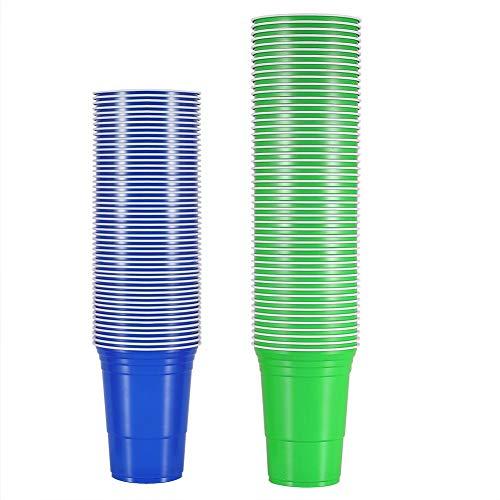 HERCHR Juego de 100 Tazas de Beer Pong para Juegos de Mesa al Aire Libre(50 Verde, 50 Azul)